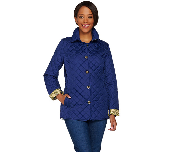 f0c9f1721753e1 C. Wonder Water Resistant Quilted Barn Jacket with Printed Lining ...