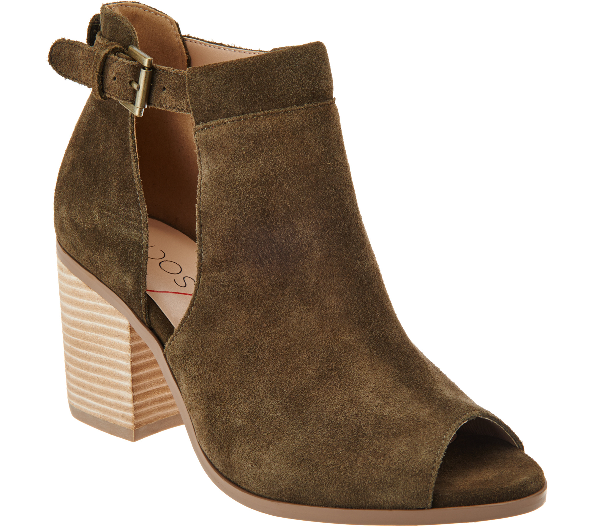 Sole Society Suede Peep-Toe Ankle Boots - Ferris