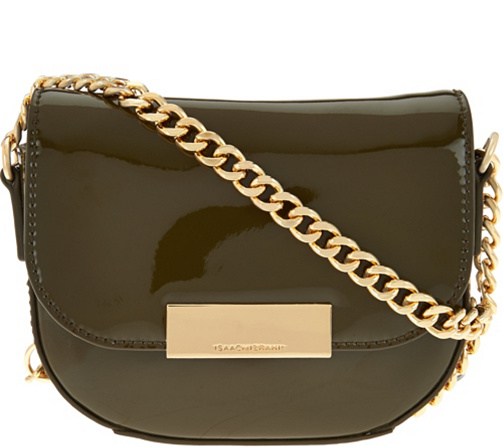 Isaac Mizrahi Live Patent Leather Chain Strap Small Handbag Page 1 Qvc