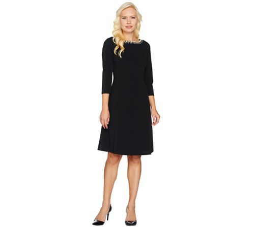 Dennis Basso Caviar Crepe Knit Dress With Embellishment Page 1