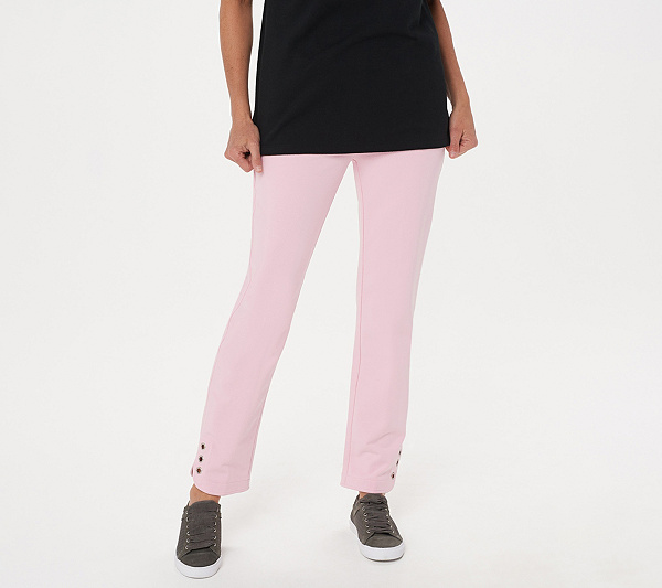 2d4dc49db7a49 Quacker Factory DreamJeannes Pull-On Regular Ankle Pants with Grommets.  Back to video