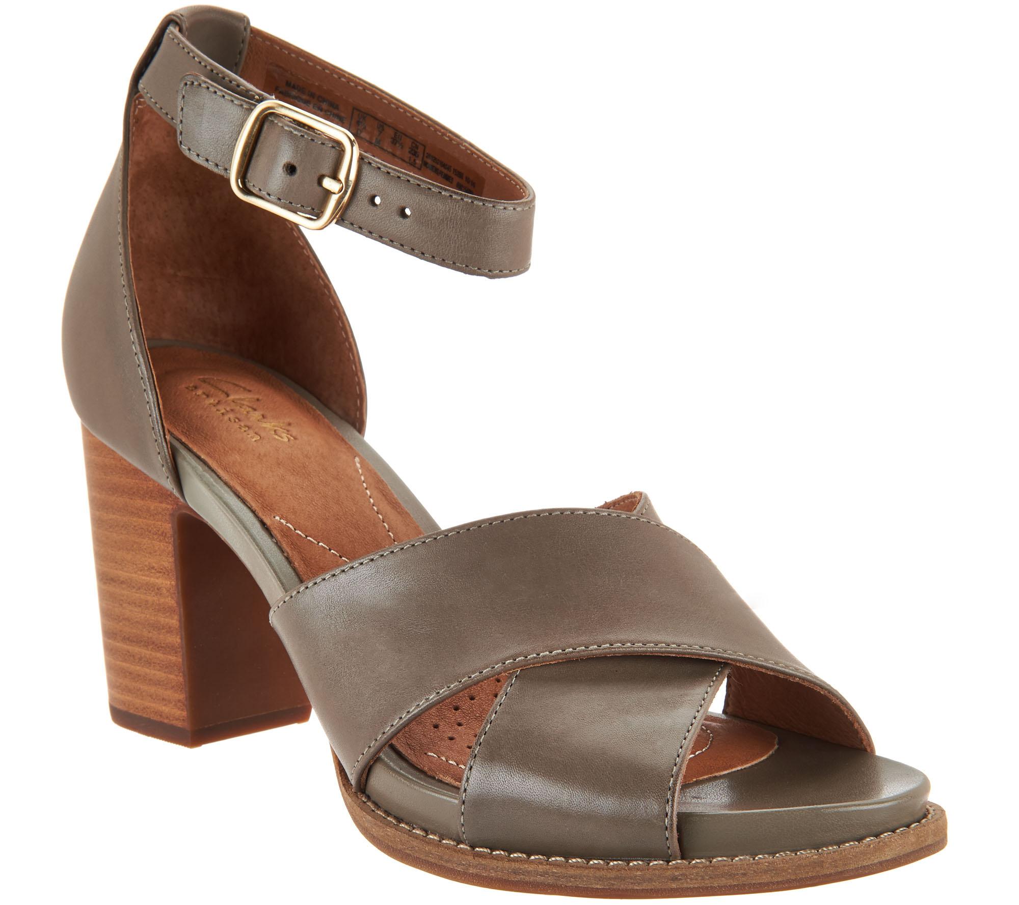 Clarks Artisan Leather Block Heel Sandals - Briatta Tempo