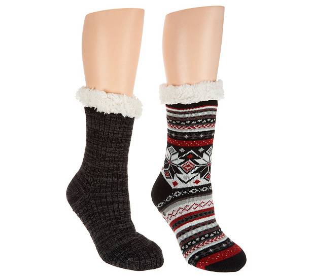cheap sale really MUK LUKS Jojoba Infused Cabin Socks with Faux Fur Set of Two clearance finishline good selling cheap price great deals outlet shop j8R1gDamO