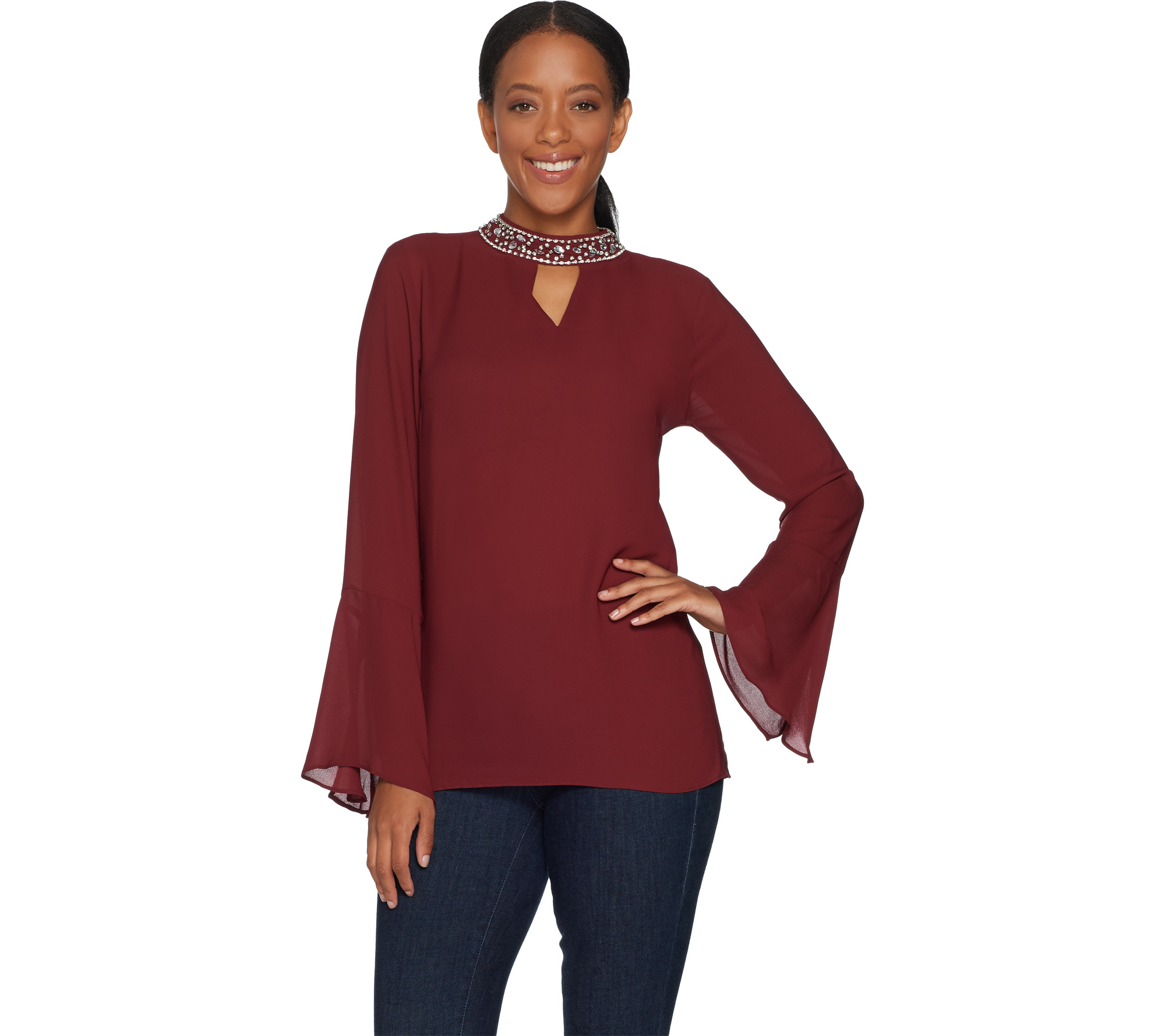 Laurie Felt Bell Sleeve Blouse With Jeweled Collar Page 1 Qvc Com