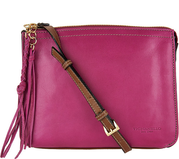 As Is Tignanello Vintage Leather Crossbody Carson Page 1 Qvc