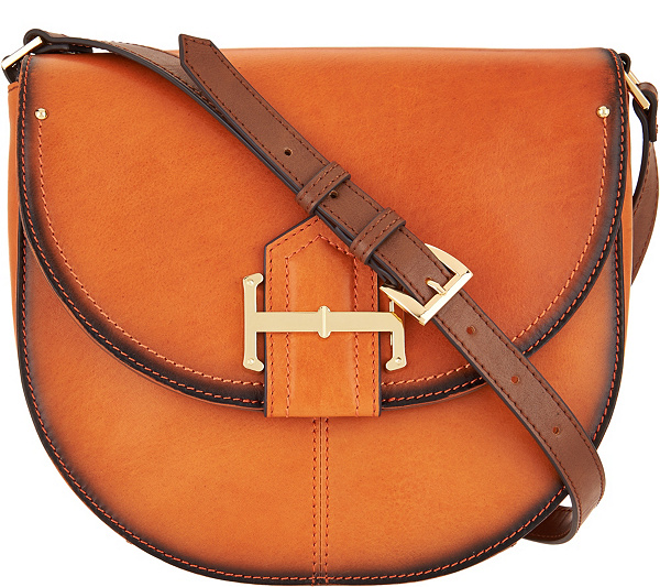 As Is Tignanello Vintage Leather Loredo Saddle Crossbody Page 1 Qvc