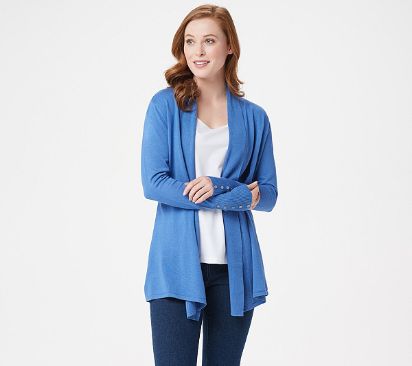 d8a2aebc564cc Susan Graver Rayon Nylon Cardigan with Button Detail - Page 1 ...