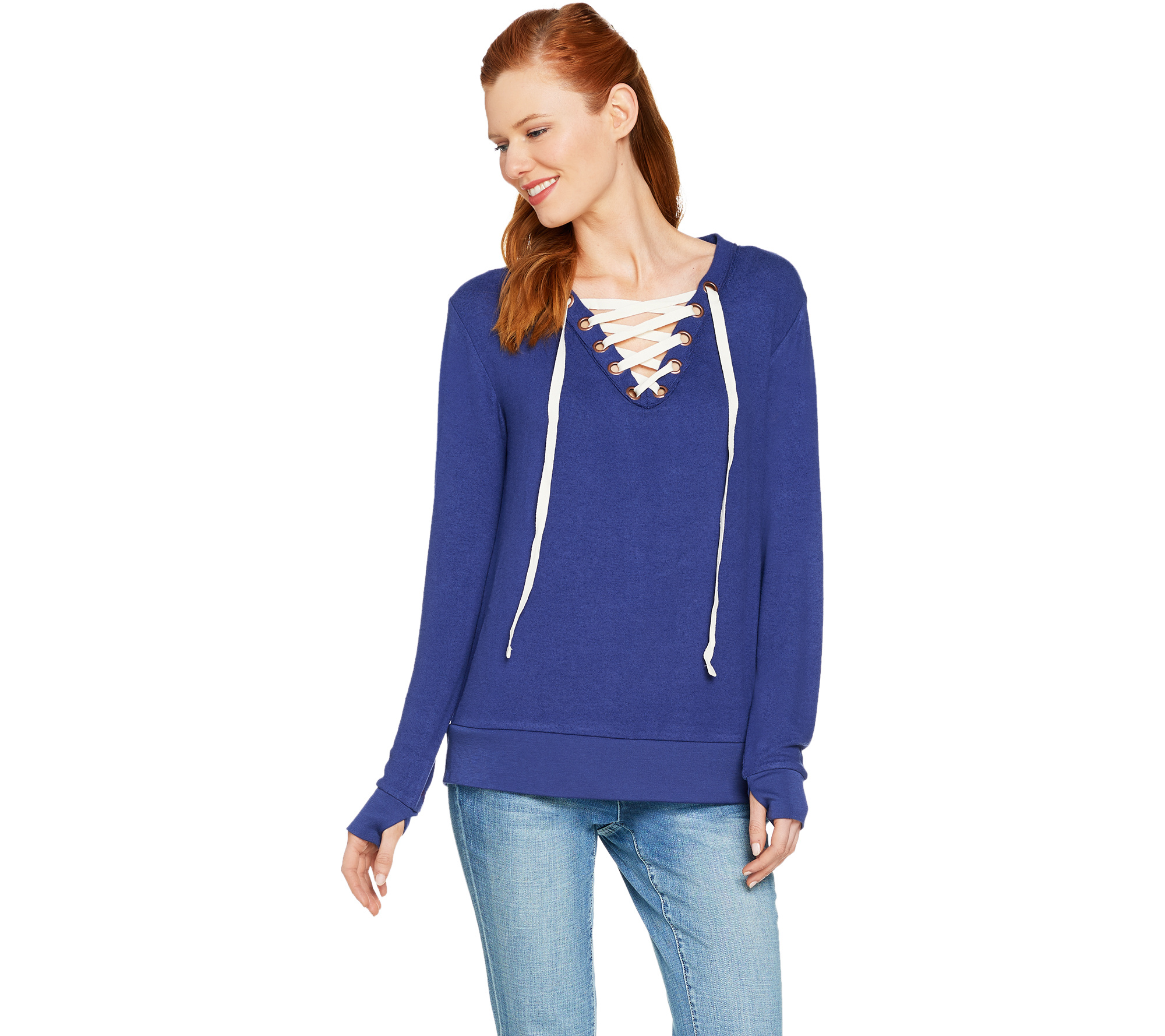 As Is Peace Love World Comfy Knit Lace Up V Neck Top Page  Qvc Com