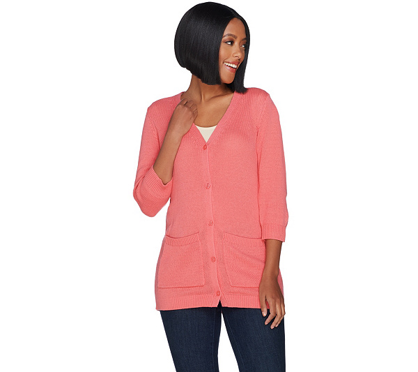 5d7c70302d Denim   Co. 3 4 Sleeve Button Front Cardigan with Pockets - Page 1 ...