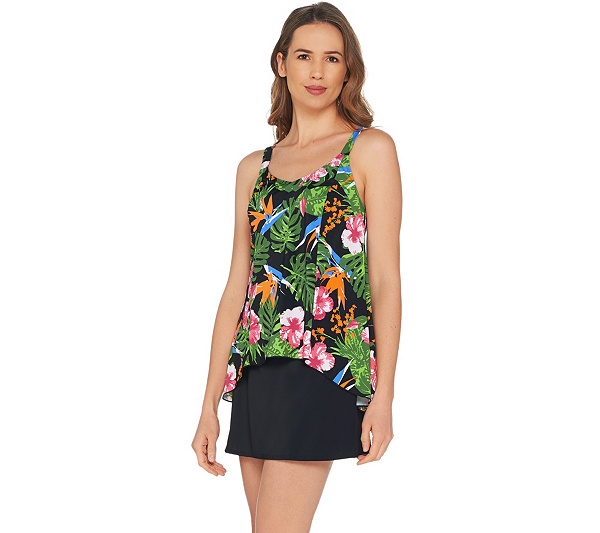672ba9a76be1a Best Seller Denim   Co. Beach Hi-Low Tankini Swimsuit with Skirt ...