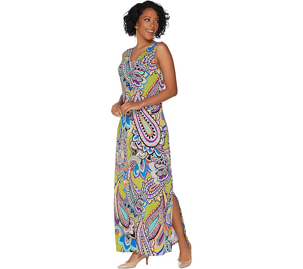 Susan Graver Printed Liquid Knit Sleeveless Maxi Dress Page 1