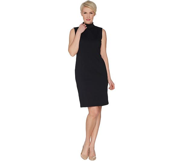 Joan Rivers Petite Length Mock Neck Little Black Dress Page 1