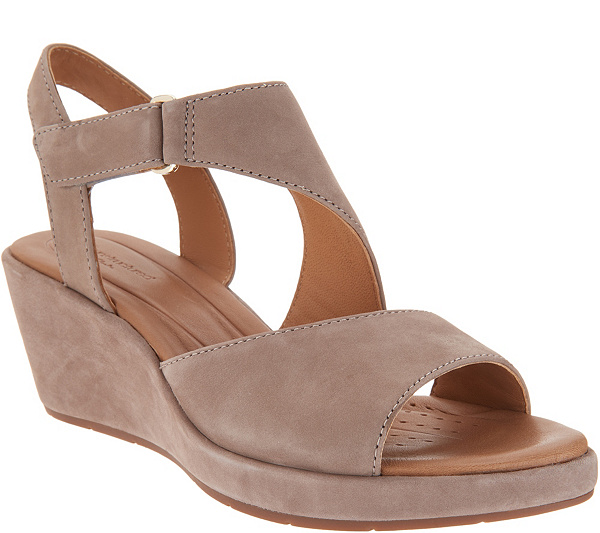 cd0375a66d22 Clarks UnStructured Leather Wedge Sandals - Un Plaza Sling. Back to video