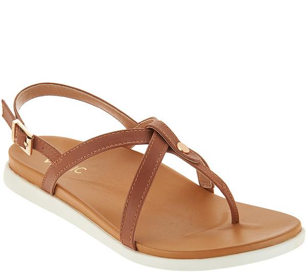 0eaf1c7c80085 Vionic Leather Thong Back-Strap Sandals - Veranda - Page 1 — QVC ...