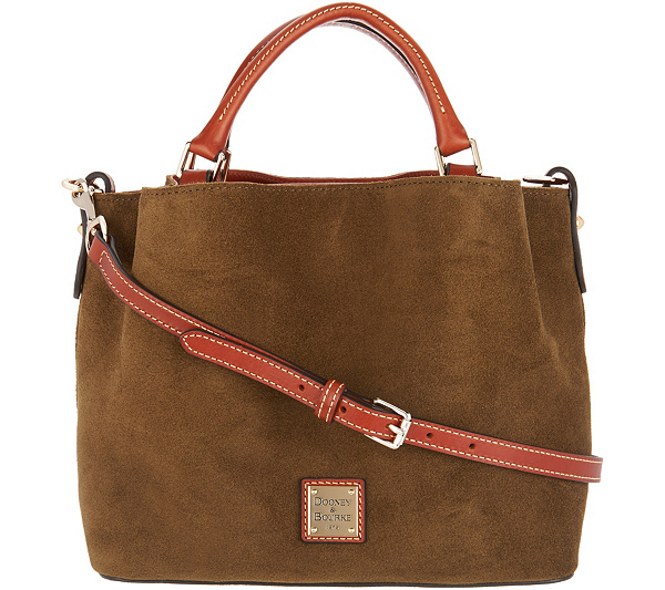 99d8bf25e9 Dooney   Bourke Suede Small Brenna Satchel Handbag. Back to video