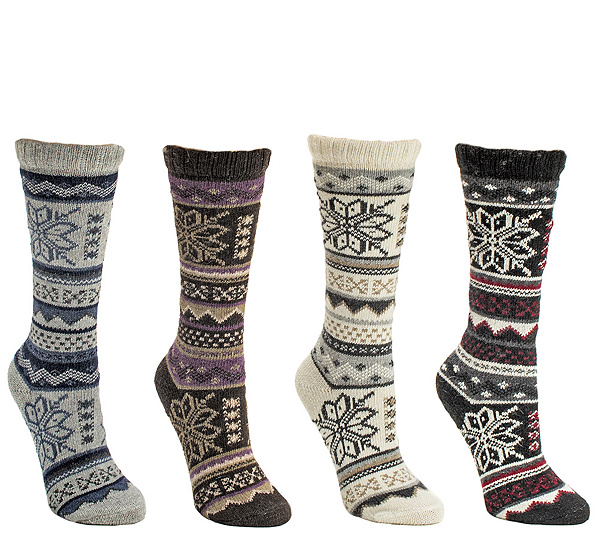 2a23e8664e7 MUK LUKS Women s 4 Pack Snowflake Crew Socks. product thumbnail. In Stock