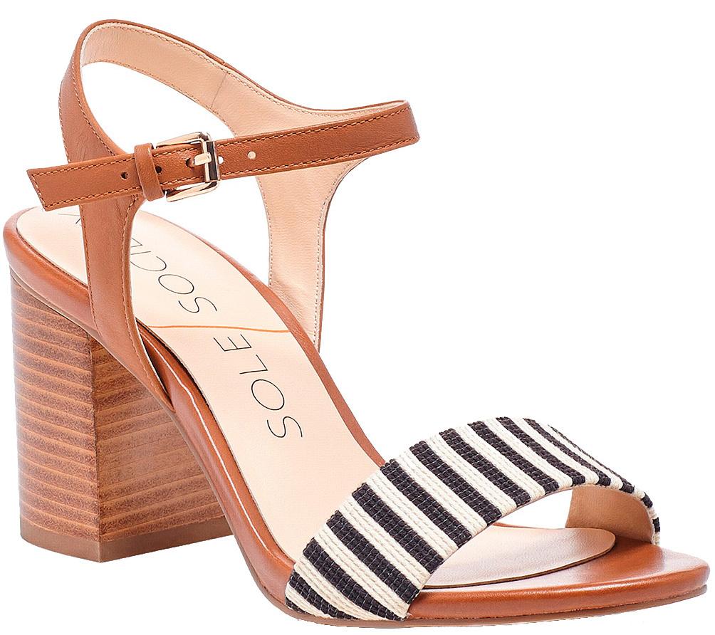 Sole Society Suede Block Heel Sandals - Linny