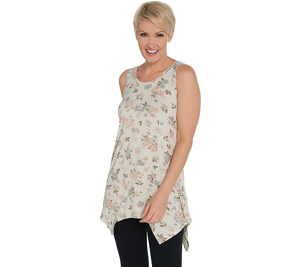 Logo Layers By Lori Goldstein Printed Knit Handkerchief Hem Tank by Logo Layers By Lori Goldstein
