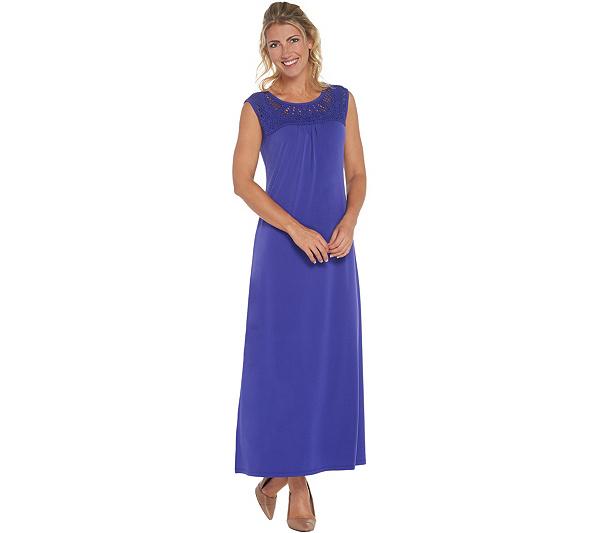 Susan Graver Liquid Knit Maxi Dress With Macrame Detail Qvc Com
