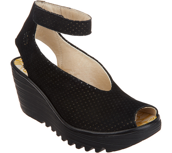 FLY London Perforated Leather Wedge Sandals - Yala Perf new arrival sale online OXwPCdN