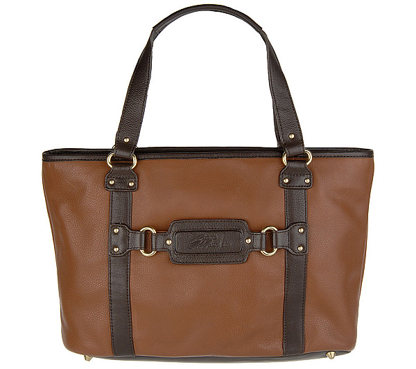 Stone Mountain Leather Double Handle Tote Bag With Detachablestrap Page 1 Qvc
