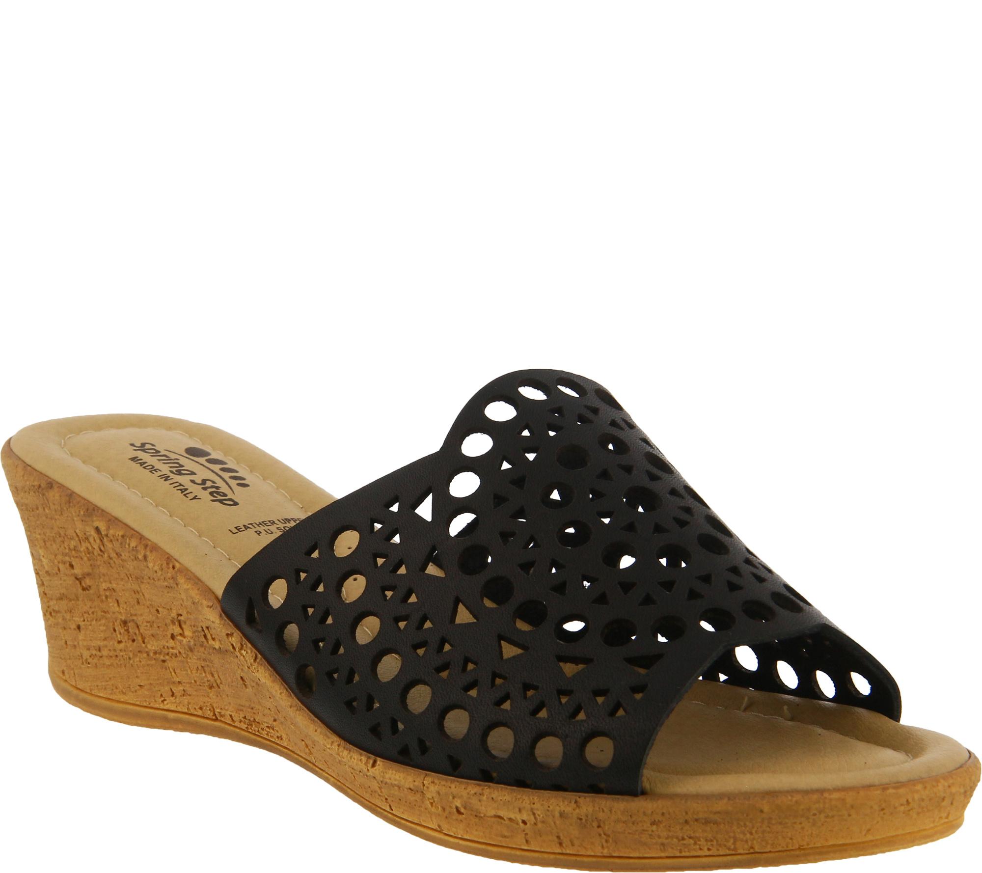 Spring Step Leather Wedge Sandals - Martha