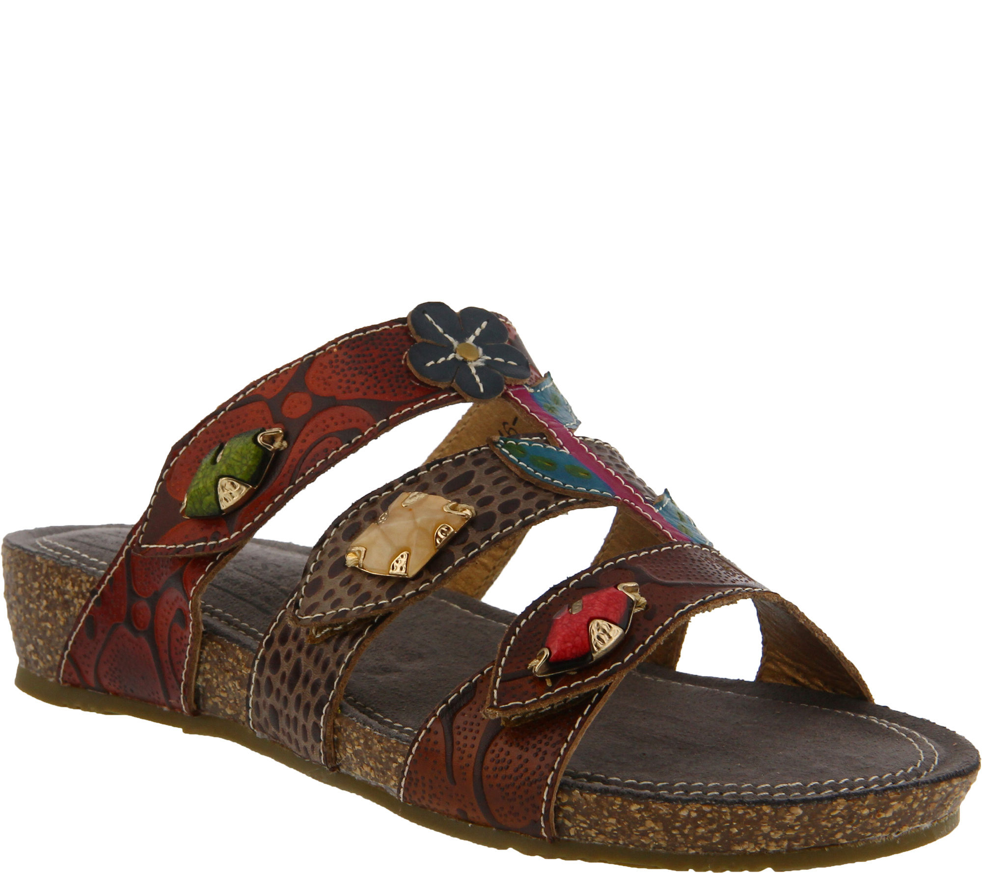 L'Artiste by Spring Step Leather Jeweled Slides - Aghna