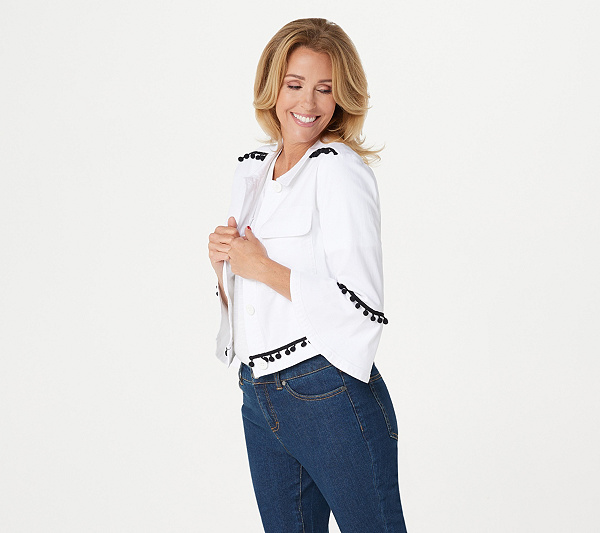 Du Jour Cropped Twill Jacket With Pom Pom Trim by Du Jour® Fashions