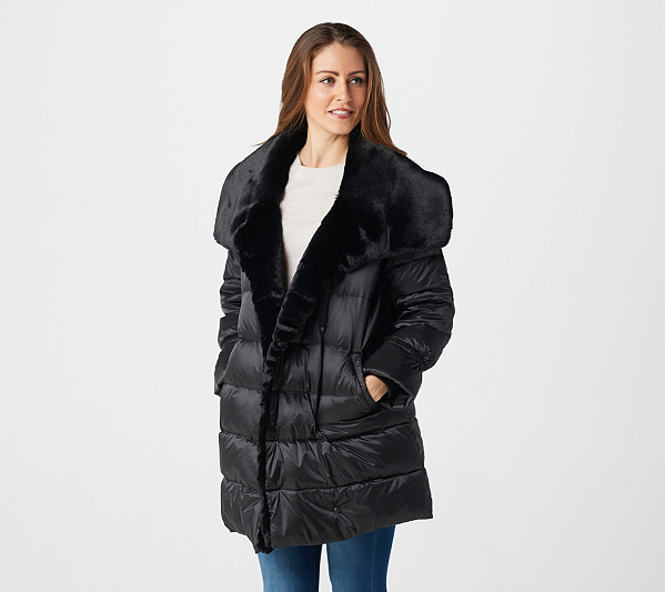 Martha Stewart Metallic Puffer Coat With Faux Fur Details by Martha Stewart