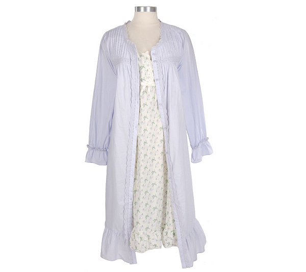 Beguile Cotton Lawn Printed Gown and Robe Set - Page 1 — QVC.com
