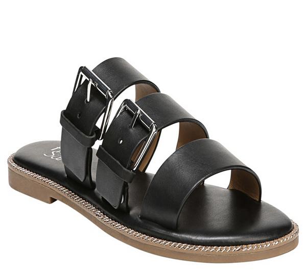 Franco Sarto Kasa Leather Buckle Slides 5gzdpA
