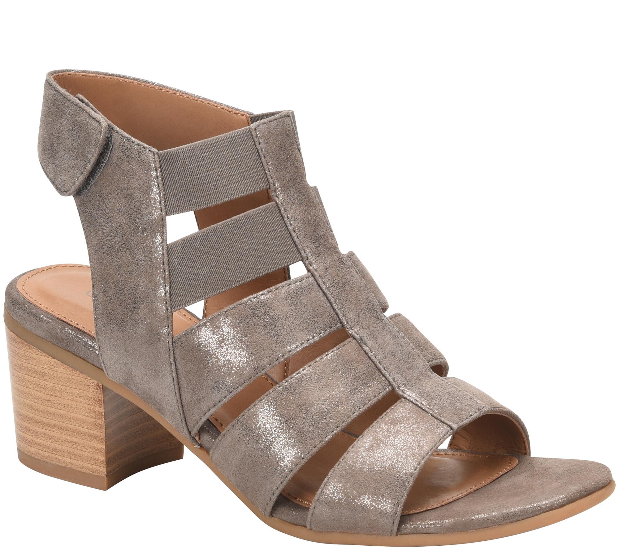 Comfortiva Alexis Leather Gladiator Block Heel Sandals
