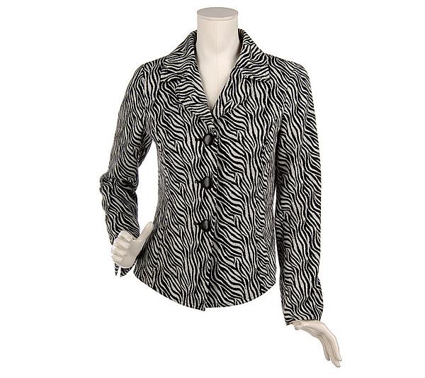 54013d29b3ea01 Diva by Dana Buchman Wool Blend Animal Jacquard Jacket - Page 1 — QVC.com