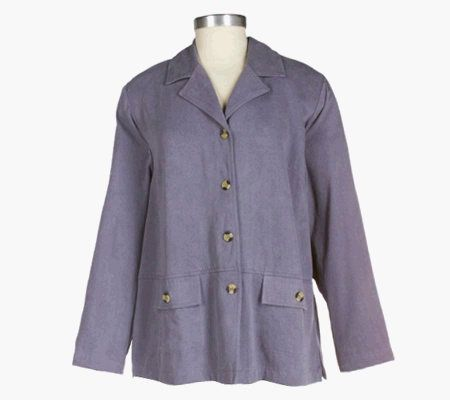 Amyu0027s Closet Tencel Blend Button Front Jacket With Flap Pockets U2014 QVC.com