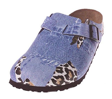 165921b4dff Birkenstock Leopard   Denim Print Comfort Clogs — QVC.com