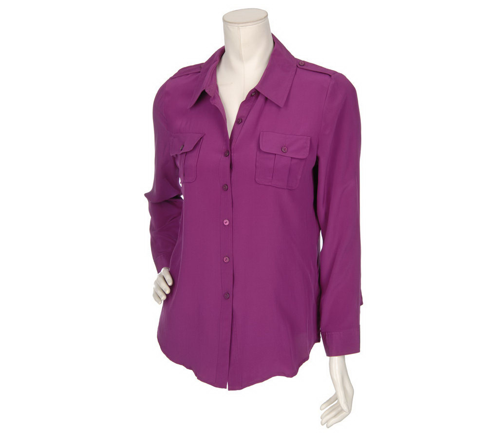 Dialogue Washable Silk Blouse With Epaulet Detail Page 1 Qvc Com
