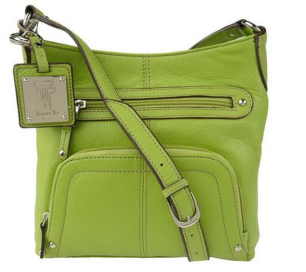 Tignanello Pebble Leather Crossbody Organizer Bag With Key Fob
