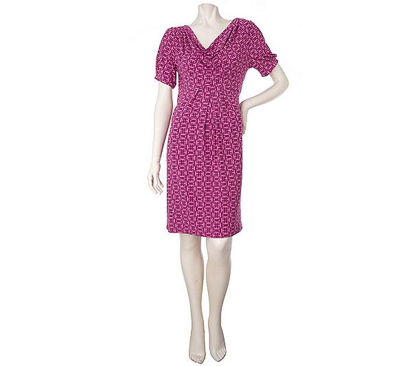 Simply. Chloe Dao Cowl Neck Printed Knit Dress - Page 1 — QVC.com