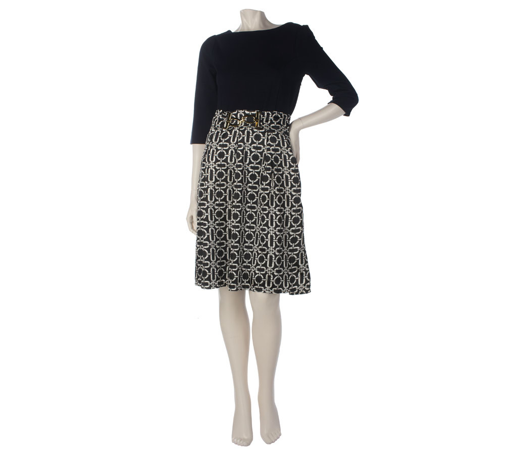 Elisabeth Hasselbeck For Dialogue Ponte Dress W Woven Skirt Page