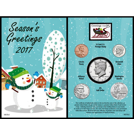 Snowman Greeting Card w/ Coins & Stamp