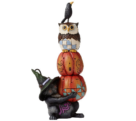 Jim Shore Heartwood Creek Cat with Stacked Pumpkins