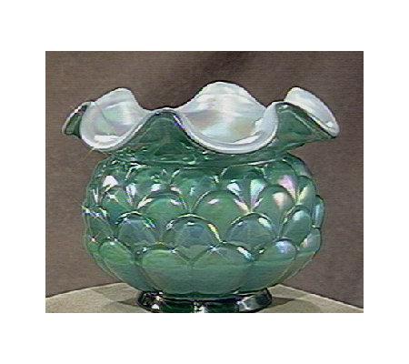 Fenton Art Glass Spruce Green Jacqueline Vase Qvc