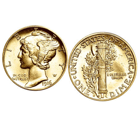 Gold-Layered Mercury Dime Cuff Links