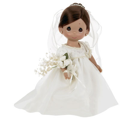 "Precious Moments Enchanted Bride Brunette 12"" Vinyl Doll"