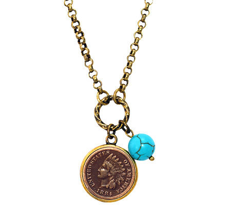 Indian Head Cent w/ Genuine Turquoise Bead Coppertone Pendant