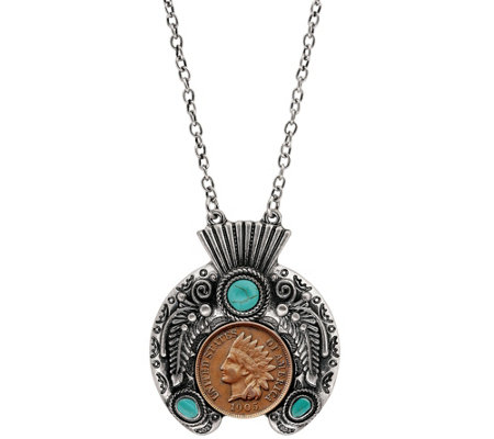 American Coin Treasures Indian Penny Ornate Headdress Necklace