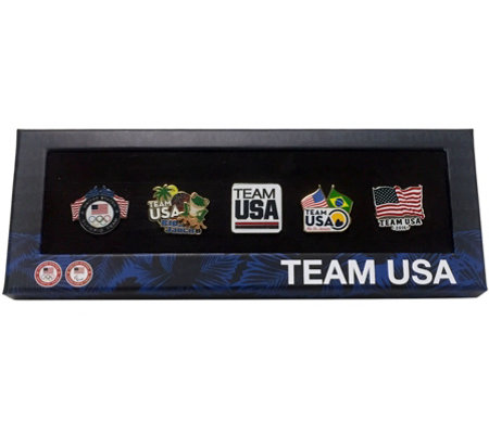 Team USA Set of 5 Decorative Olympic Pin Set in Display Box