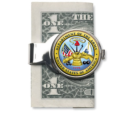 Silvertone Money Clip w/ Colorized Army JFK Half Dollar