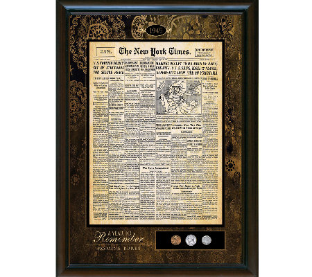 Personalized New York Times Framed Front Page a nd U.S. Coins
