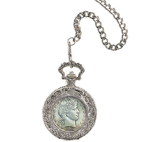 Silver Barber Half-Dollar Pocket Watch